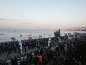 Preparing to swim at Nice Ironman 2015